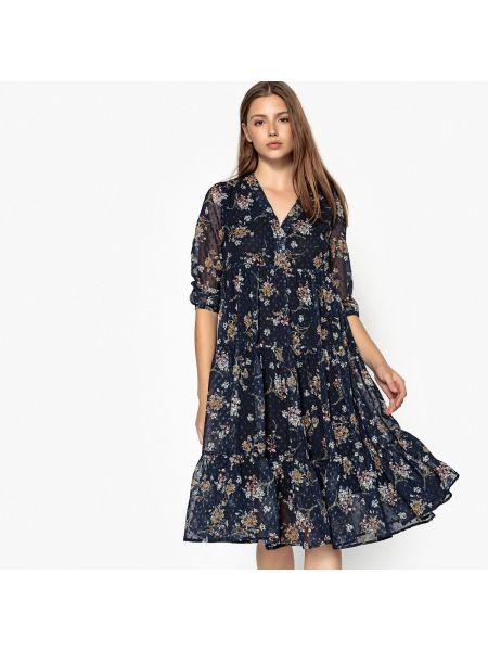Расклешенное платье миди с V-образным вырезом с рисунком на молнии See U Soon