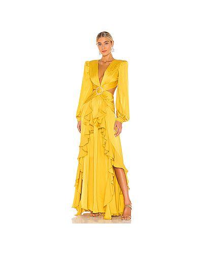 Вечернее желтое вечернее платье с вырезом на молнии Patbo