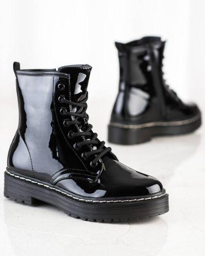Czarne botki bez obcasa Shelovet