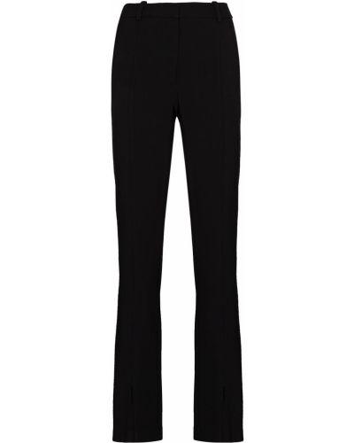 Черные брюки с разрезом из вискозы Victoria Beckham