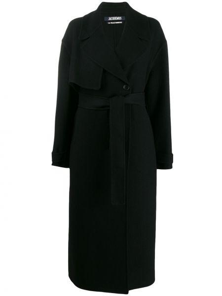 Czarny płaszcz wełniany z paskiem Jacquemus