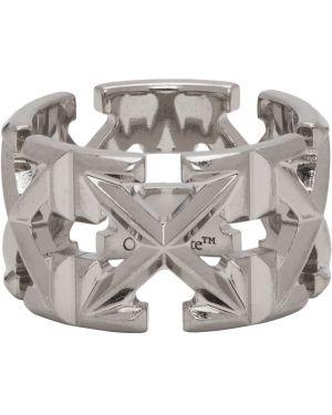 Pierścień ze srebra biały Off-white