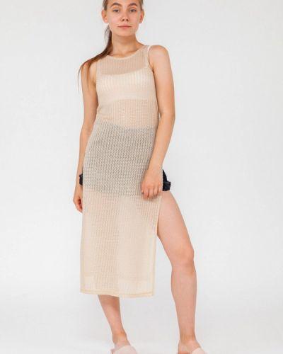 Пляжное платье осеннее бежевое Street Style
