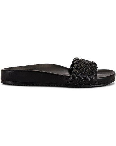 Czarne sandały skorzane na obcasie Raye