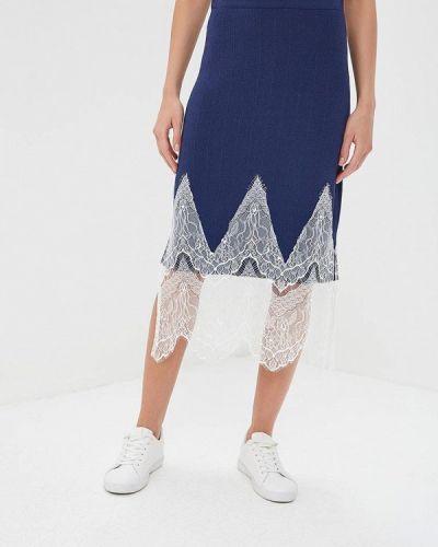 Синяя юбка карандаш с рукавом 3/4 Silvian Heach