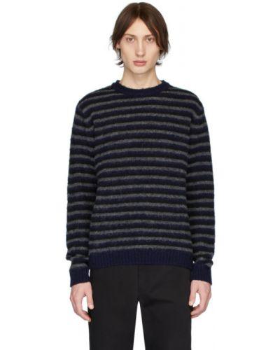 Czarny długi sweter wełniany w paski Norse Projects