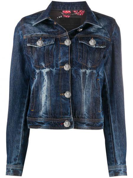 Синяя джинсовая куртка с воротником на пуговицах с нашивками Philipp Plein