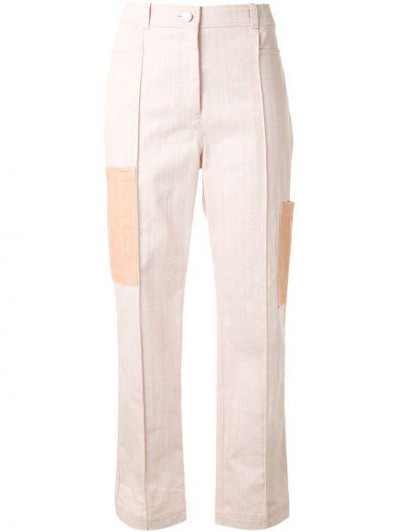 Розовые брюки с воротником с карманами с высокой посадкой Nehera