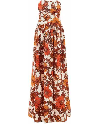 Оранжевое платье макси на молнии с открытыми плечами из вискозы Dodo Bar Or