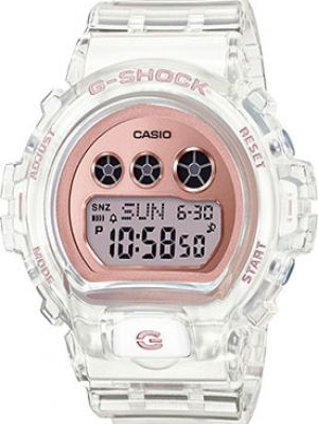 Тренировочные розовые часы механические прозрачные с пряжкой Casio