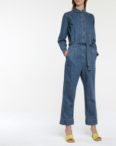 Ватный синий льняной джинсовый комбинезон 7 For All Mankind