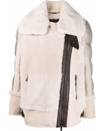Кожаная куртка длинная - бежевая Moorer