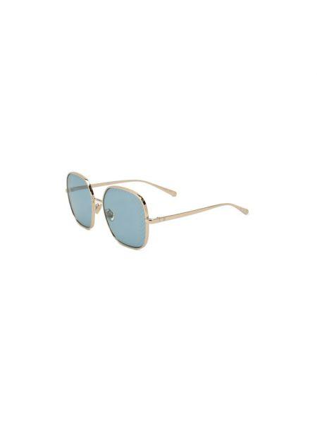 Золотистые синие солнцезащитные очки квадратные металлические Chanel
