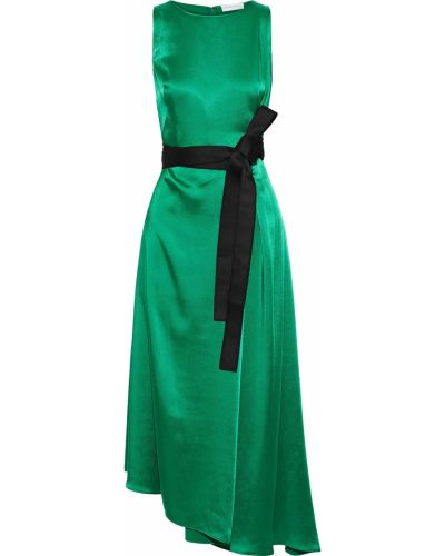 Платье миди атласное - зеленое Amanda Wakeley