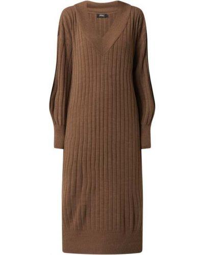Brązowa sukienka z dekoltem w serek Only