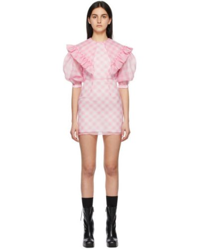 Satynowa różowa sukienka mini z falbanami Shushu/tong