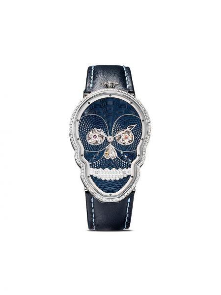 Czarny zegarek na skórzanym pasku skórzany z diamentem Fiona Kruger