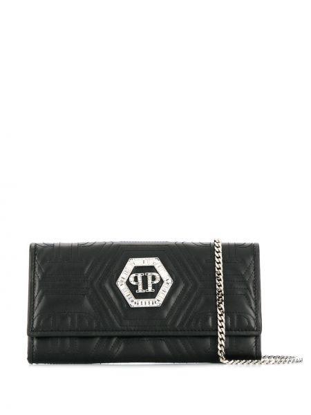 Czarny portfel skórzany pikowany Philipp Plein