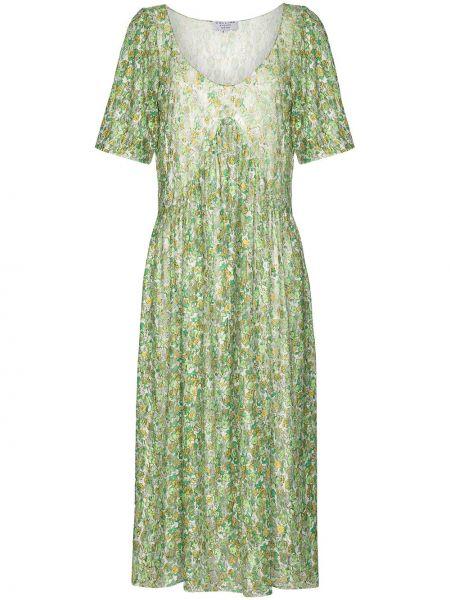 Koronkowa zielony sukienka midi na sznurowadłach Collina Strada
