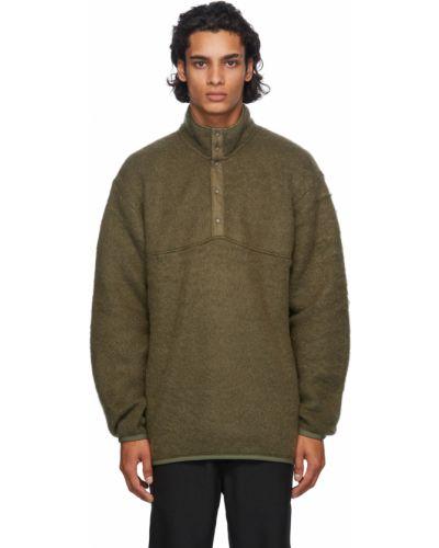 Zielony długi sweter moherowy z długimi rękawami Nanamica