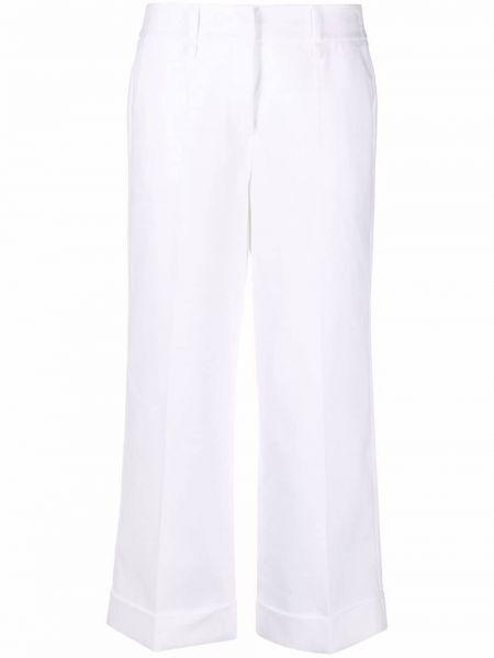 Льняные белые укороченные брюки с карманами Luisa Cerano
