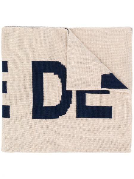 Prążkowany beżowy szalik wełniany Drole De Monsieur