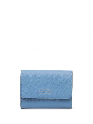 Niebieski portfel skórzany Smythson