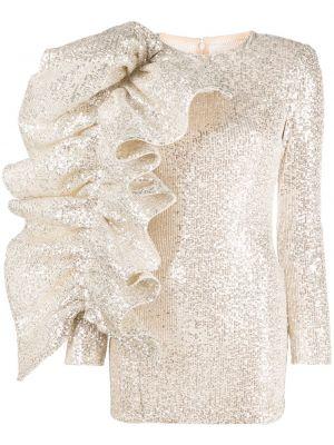Серебряное платье мини с пайетками с вырезом на молнии Loulou