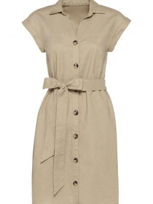 Льняное бежевое платье Bonprix