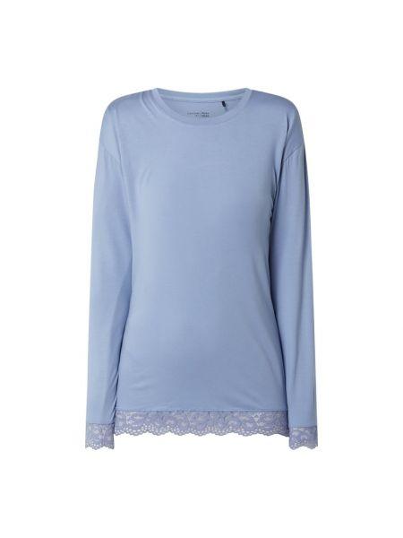 Niebieski piżama z długimi rękawami z wiskozy z dekoltem Schiesser