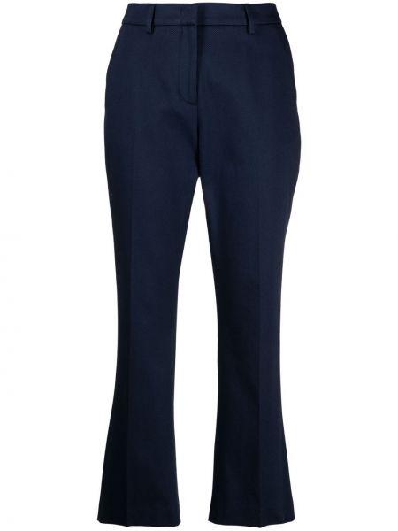 Расклешенные хлопковые синие укороченные брюки Pt01