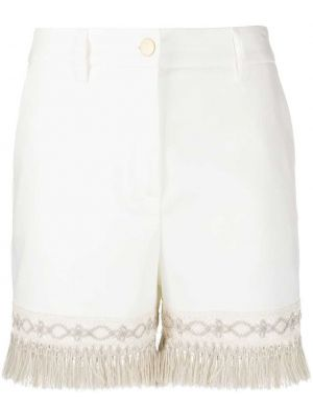 Белые короткие шорты с карманами с бахромой Blumarine