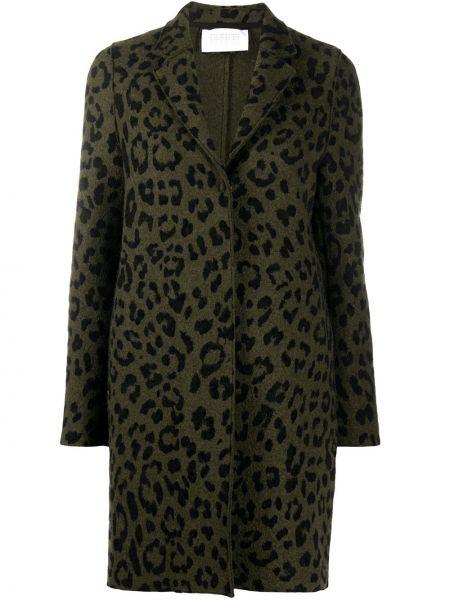 Зеленое однобортное шерстяное пальто на пуговицах Harris Wharf London