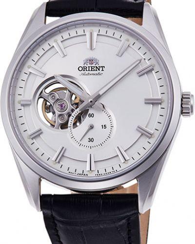 Часы водонепроницаемые с кожаным ремешком механические с подсветкой Orient