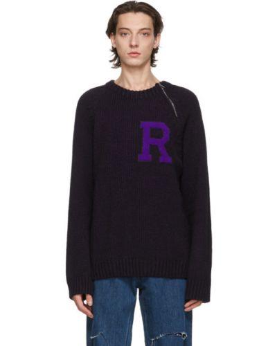 Черный длинный свитер с воротником из альпаки Raf Simons