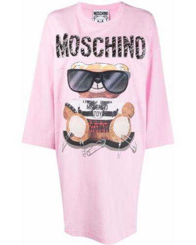 Розовое хлопковое платье Moschino