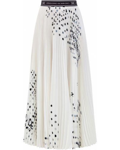 Шелковая белая плиссированная юбка макси Ermanno Scervino
