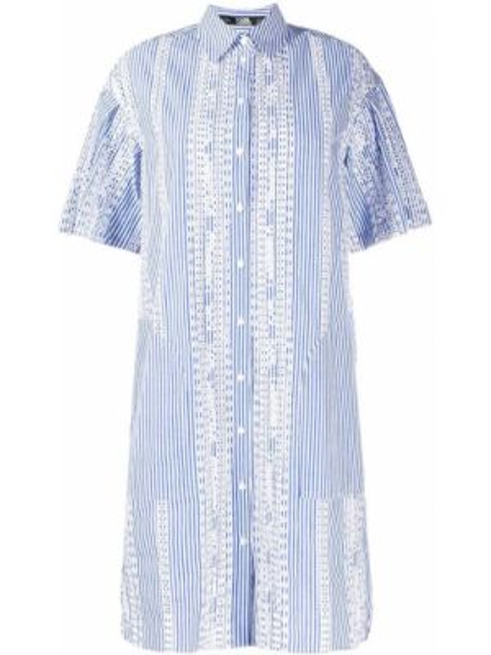 С рукавами синее платье мини с вышивкой Karl Lagerfeld