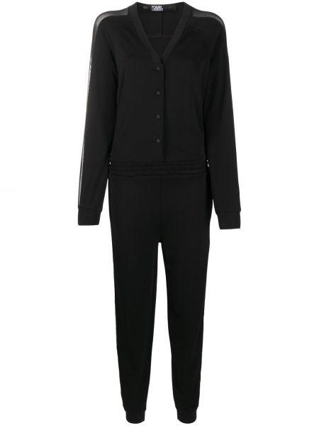 Черный комбинезон на пуговицах с V-образным вырезом с поясом Karl Lagerfeld