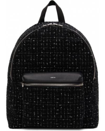 Z paskiem klasyczny czarny plecak z prawdziwej skóry Amiri