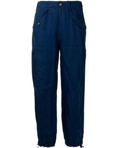 Синие прямые с завышенной талией брюки Polo Ralph Lauren