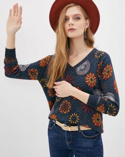 Синий пуловер Desigual