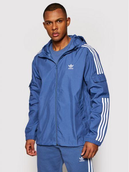 Niebieska wiatrówka w paski Adidas