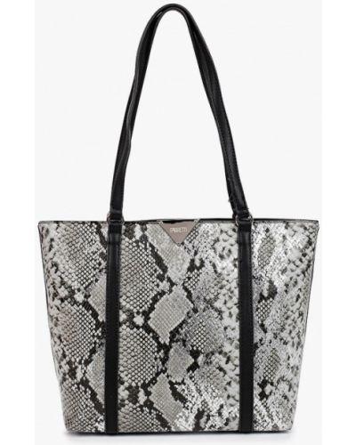 Кожаная сумка шоппер - серая Fabretti