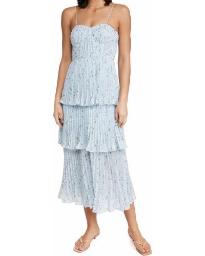 Шифоновое платье миди с декольте с подкладкой Self-portrait