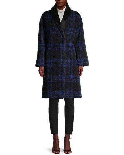 Шерстяное черное длинное пальто с воротником Cinzia Rocca Icons