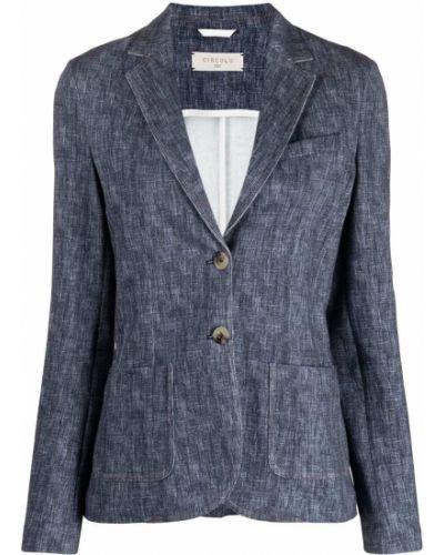 Синий удлиненный пиджак с карманами на пуговицах Circolo 1901