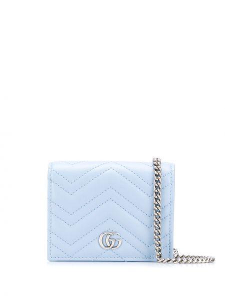 Niebieski z paskiem portfel skórzany z gniazdem z prawdziwej skóry Gucci