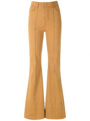 Расклешенные коричневые брюки дудочки с карманами Amapô
