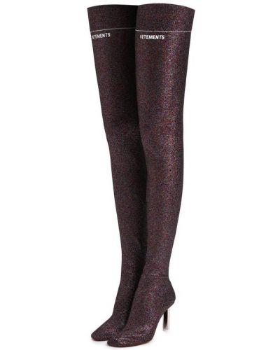 Кожаные сапоги на каблуке текстильные Vetements